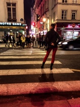 Waiting to cross the street. Feeling chic after my first day in Paris.